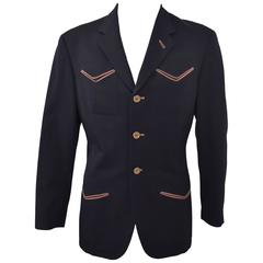 Jean Paul Gaultier Navy Jacket with Chevron Pockets Contrast Brown Piping Detail