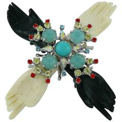 Christian Lacroix Rare Symbolist Hands Jewelled Brooch Pendant