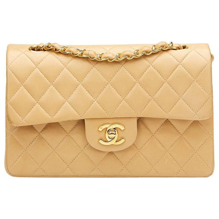 1990s Chanel Beige Quilted Lambskin Vintage Small Classic Double Flap Bag  For Sale daee0a773c4a3