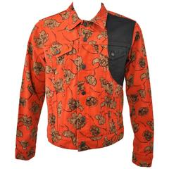 Dries Van Noten Orange Floral Print Denim Jacket with Concealed Belt and Waxed C