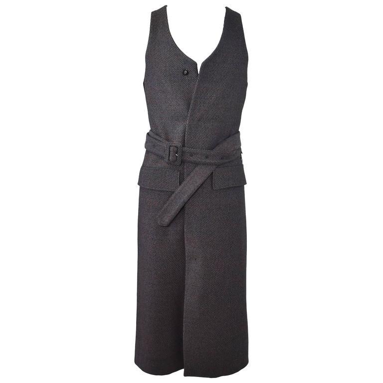 Raf Simons Multicoloured Tweed Sleeveless Long Coat with Belt and ...