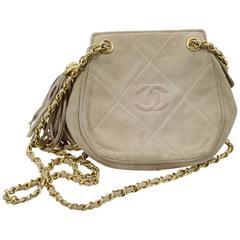 Chanel Vintage 90's  Suede Shoulder Bag with Golden Hardware
