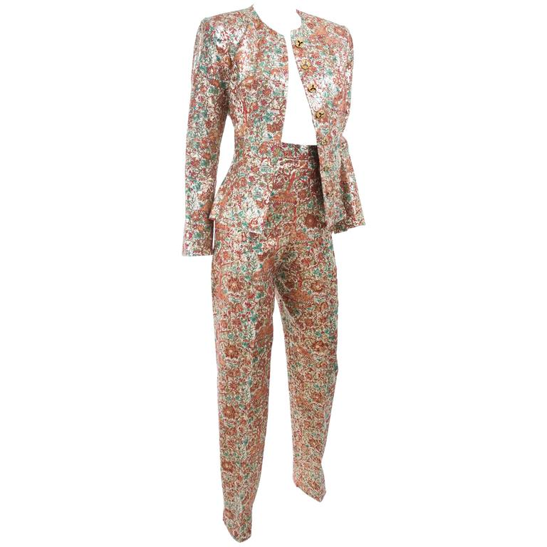 Vintage Yves Saint Laurent Brocade Suit in Gold, Red and Green 1