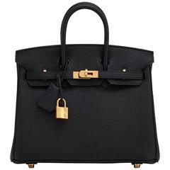 Hermes Black Baby Birkin 25cm Togo Gold Hardware Jewel