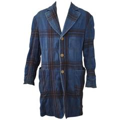 Vivienne Westwood Denim and Brown Check Wool Coat