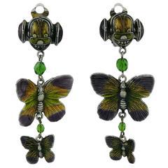 Jean Paul Gaultier 1990s Unsigned Scarab and Butterflies Dangling Earrings