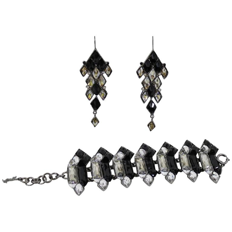 21e62a44c0f Amazing Yves Saint Laurent Jewelry Set (Earrings and Bracelet) Black and  Crysta For Sale