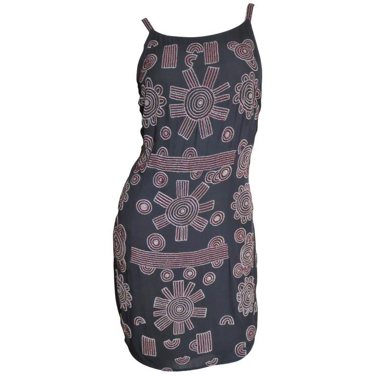 1990s Karl Lagerfeld Vintage Intricately Beaded Silk Dress