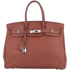 Hermes Birkin Handbag Sienne Togo with Palladium Hardware 35