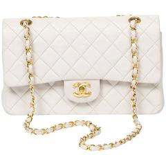 Chanel Classic Double Flap 26 White Quilted Leather