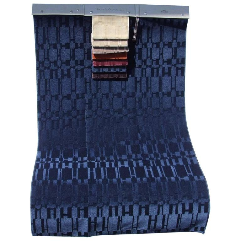 Hermes Piece of Tissu Fabric OP'H Print Indigo Blue Kid Mohair
