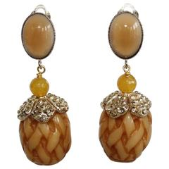 Philippe Ferrandis Glass Cabochon Resin and Swarovski Crystal Clip Earrings