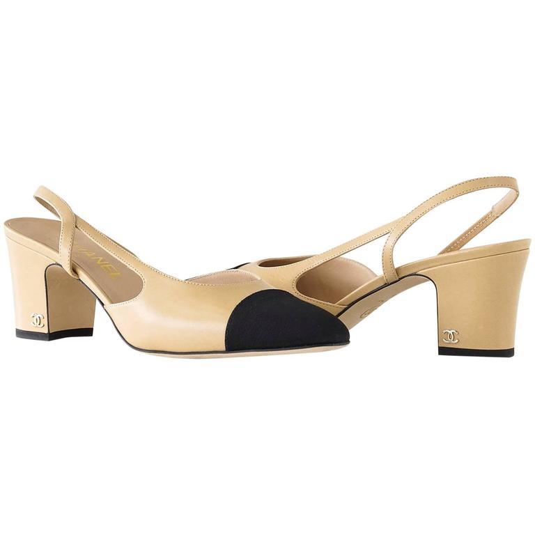 ca6ea3f93f5 Chanel Shoe Mademoiselle Leather Camel Black Grosgrain 39.5   9.5 For Sale
