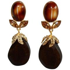 Philippe Ferrandis One of a Kind Glas, Wood, and Crystal Pierced Earrings