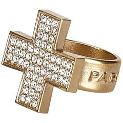 Chanel Gold Toned Rhinestone Cross Ring