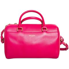 Saint Laurent Pink Duffle Bag with Top Handle and Shoulder Strap