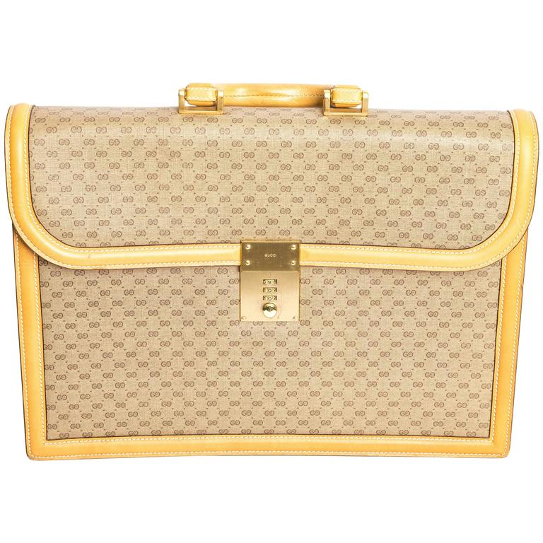 Gucci Monogram Briefcase With Tan Leather Trim