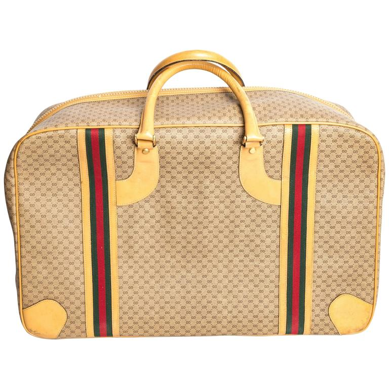 Gucci Soft Tan Monogram Suitcase With Heritage Stripe