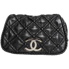 Chanel Black Quilted Leather Bag With Graphite Grey Chanel Logo - 2007/2008