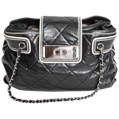 Chanel Black Leather Quilted Bag with Cream Leather Piping and Silver Hardware