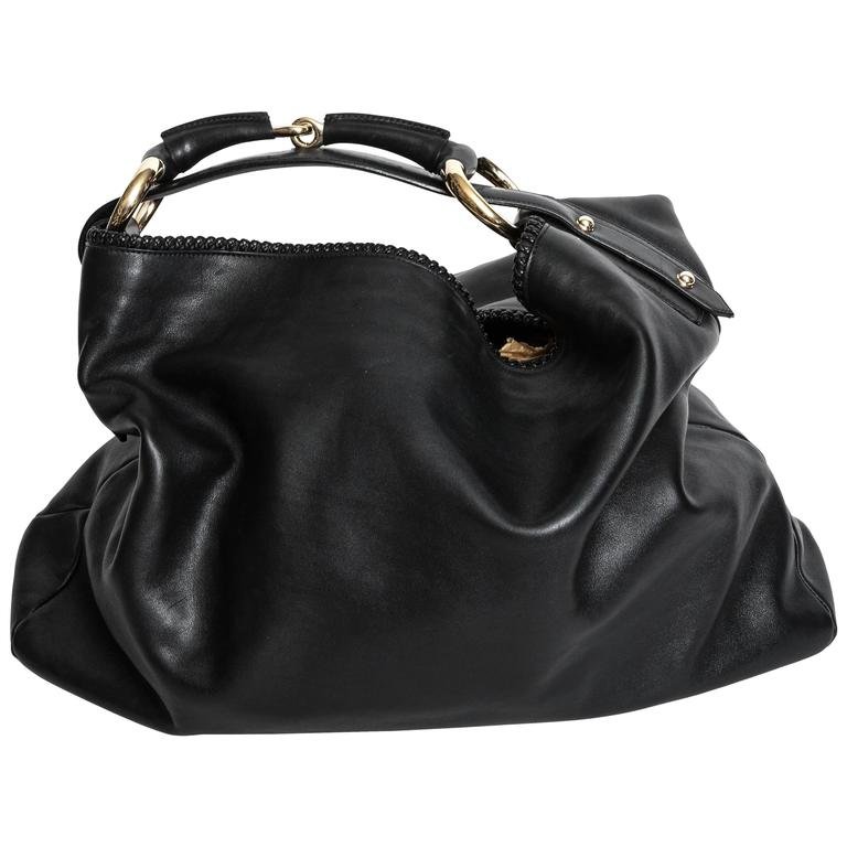 Gucci Black Leather Horsebit Hobo Bag With Silver Hardware For