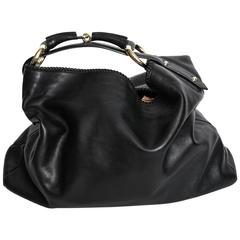Gucci Black Leather Horsebit Hobo Bag With Silver Hardware