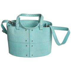 Tod's Baby Blue Snakeskin Bucket Back With Detachable Shoulder Strap