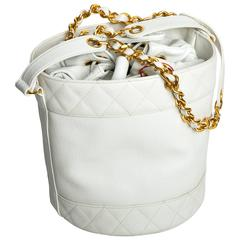 Chanel White Caviar Drawstring Bucket Bag with Pouch and Gold Hardware