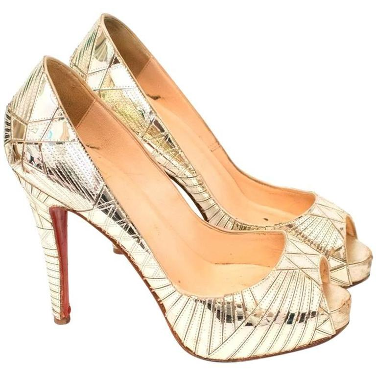 Christian Louboutin Gold Patent Leather Peep Toe Heels