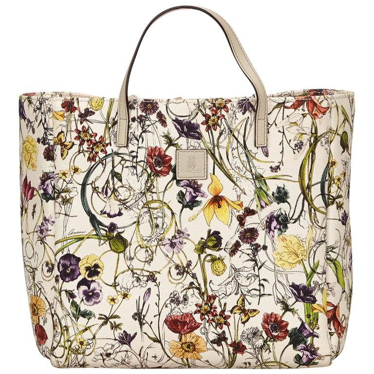 548f6fe6c740 Gucci White with Multi Coloured Floral Printed Canvas Tote Bag For Sale