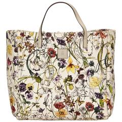 Gucci White with Multi Coloured Floral Printed Canvas Tote Bag