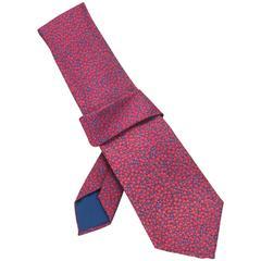 Hermes Red & Blue Dot Print Silk Tie