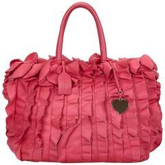 Prada Pink Satin Ruffle Tote Bag
