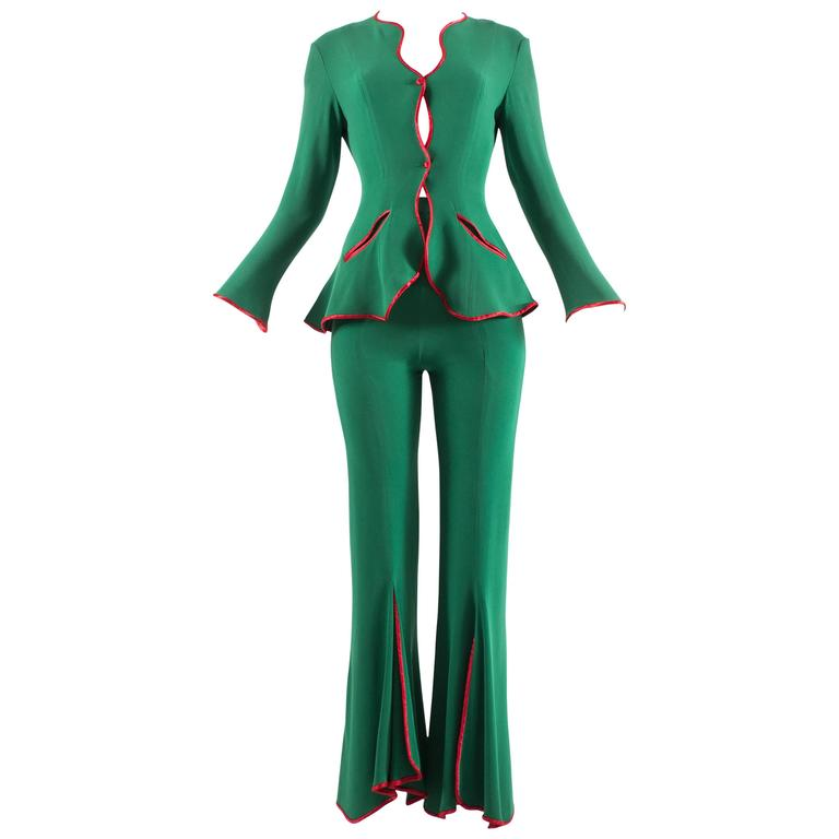 Ossie Clark 1970 Green jersey 'Judy' Pant Suit With Red Satin Trim