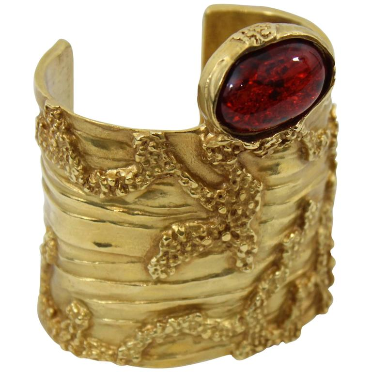 6600f675b89 Yves Saint Laurent Gold Plated Artsy Cuff with Red Stone at 1stdibs