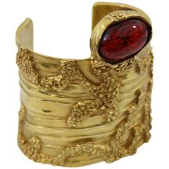 Yves Saint Laurent Gold Plated Artsy Cuff with Red Stone