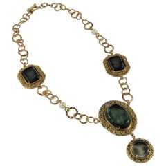 Bronze and engraved Murano glass necklace by Patrizia Daliana