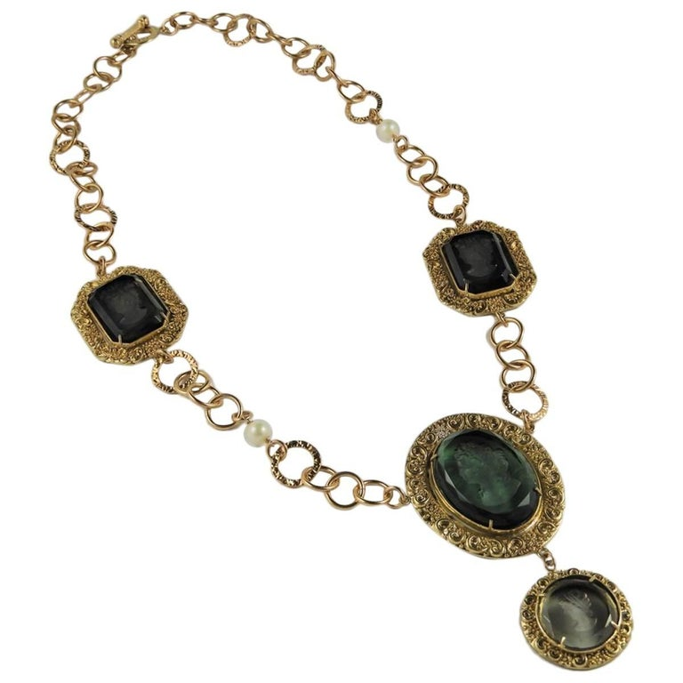Bronze and engraved Murano glass necklace by Patrizia Daliana 1