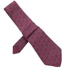 Hermes Burgundy & Blue Chain Print Silk Tie