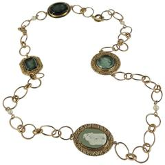 bronze Murano glass and Wedgwood cameo chain