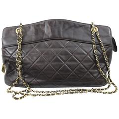 Chanel Large Brown Chocolate Quilted Leather Shopping Bag
