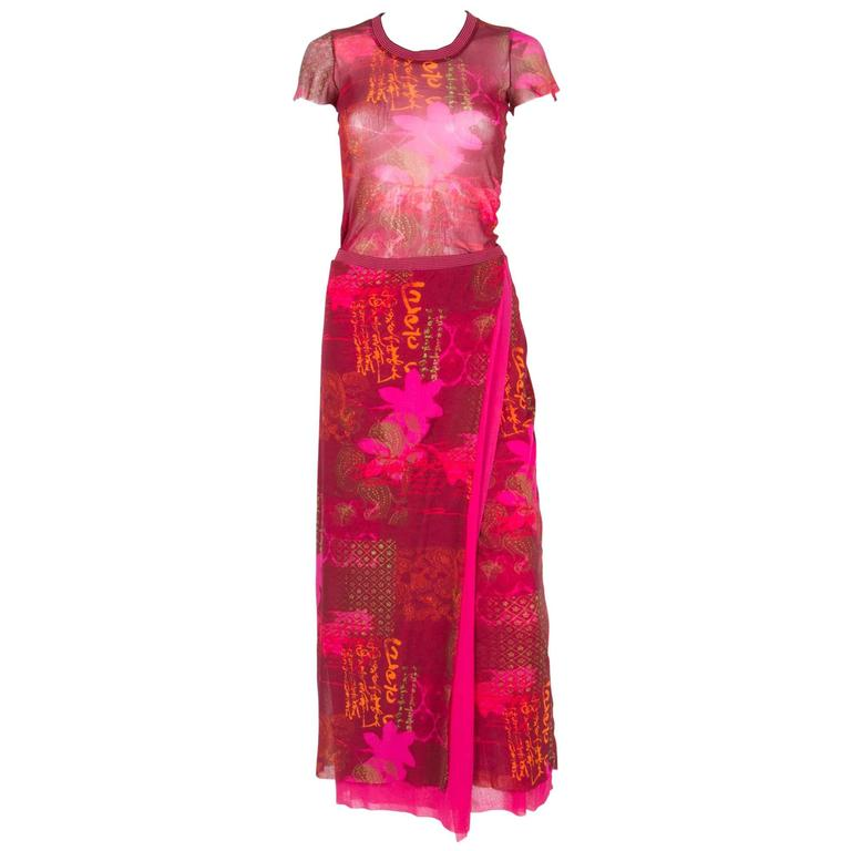 Red Ethnic Sheer Kenzo Skirt and Top Suit