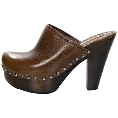 Prada Brown Leather Clogs Sz 36.5 with Box
