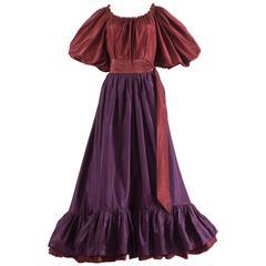 Yves Saint Laurent 1978 silk taffeta blouse and skirt ensemble