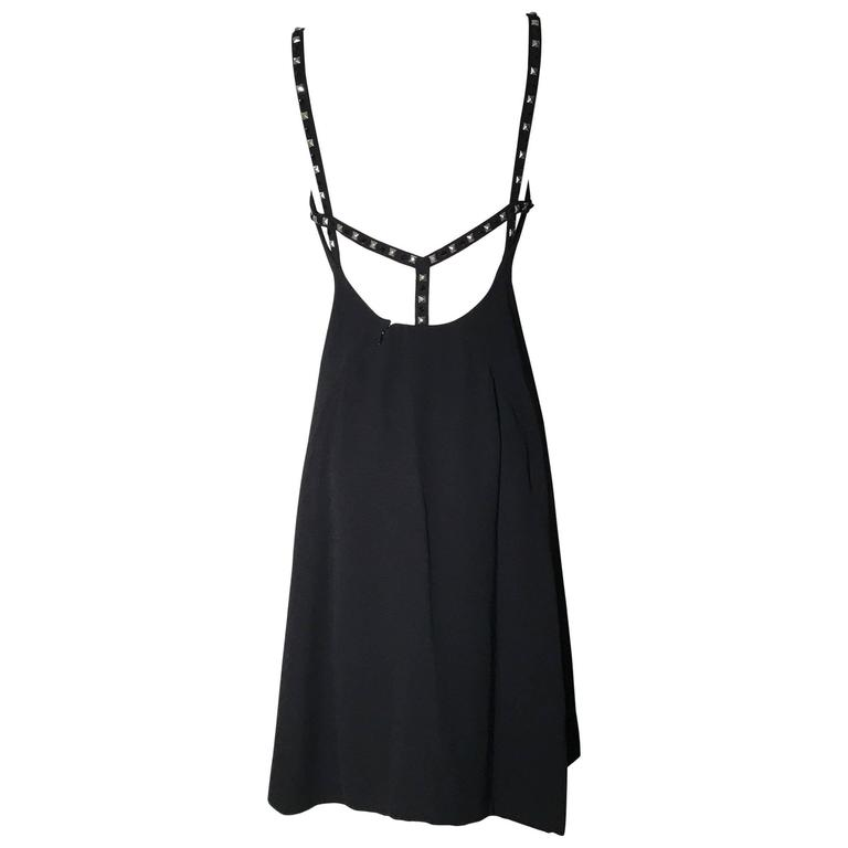 Gianni Versace Couture Vintage 1990s Backless Studded Little Black Dress For Sale