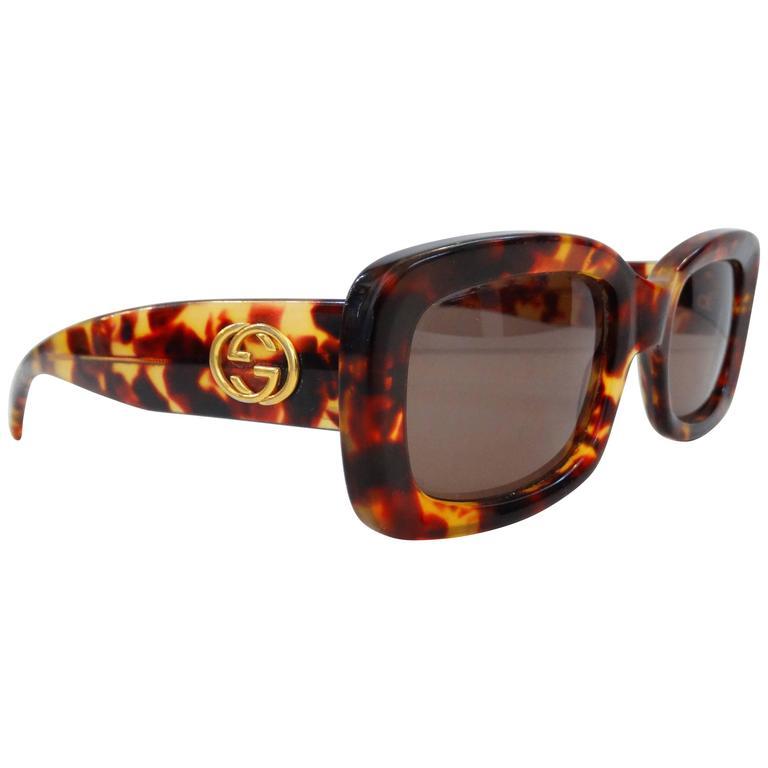 16da4b937e Late 80 s Gucci Tortoiseshell Bold Rectangular Sunglasses at 1stdibs