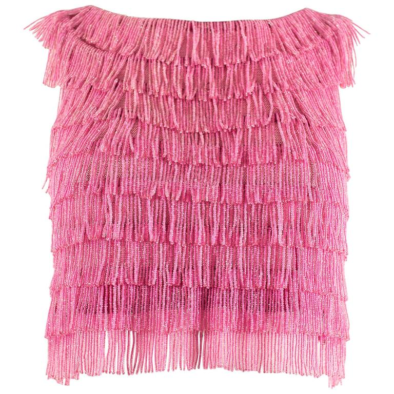 1960 hot pink beaded fringed cropped evening vest 1