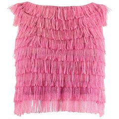 1960 hot pink beaded fringed cropped evening vest