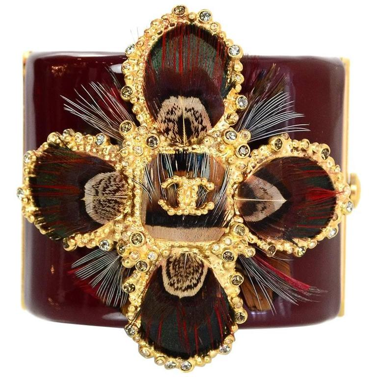 Chanel Burgundy Resin Feather Detailed Cc Cross Cuff