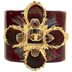 Chanel Burgundy Resin Feather Detailed CC Cross Cuff Bracelet